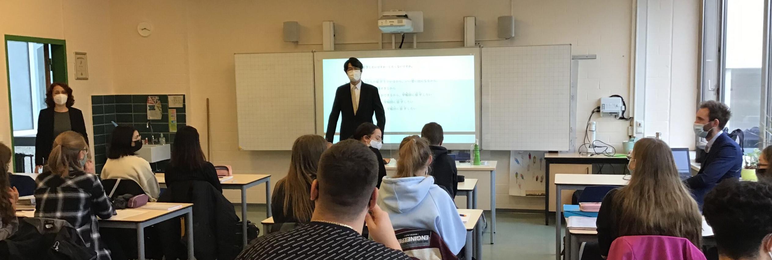 Hoher diplomatischer Besuch aus Japan, am Gymnasium Filder Benden